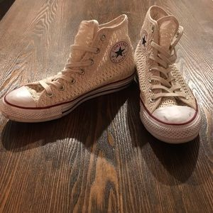 Cream Mesh Converse All Star High Tops - Size 8